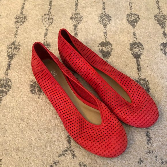 Eileen Fisher Patch perforated leather flats